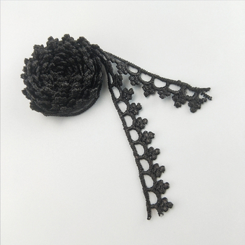 Factory Supply Vintage Style Narrow Polyester Embroidery Rose Floral Border Gold&Black&White Lace Trim