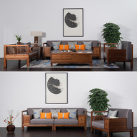 Chinese style wood corner sofa set designs living room furniture