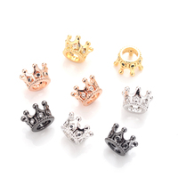 Women Bracelet DIY Connector Accessories Micro Pave White/Black Cubic Zirconia Copper Spacer Bead Crown Beads for Jewelry Making