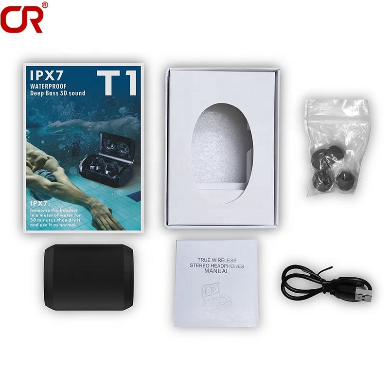 2020 Best T1 IPX7 Waterproof Bluetooth 5.0 TWS Wireless Mini Earbuds True Stereo Earphones