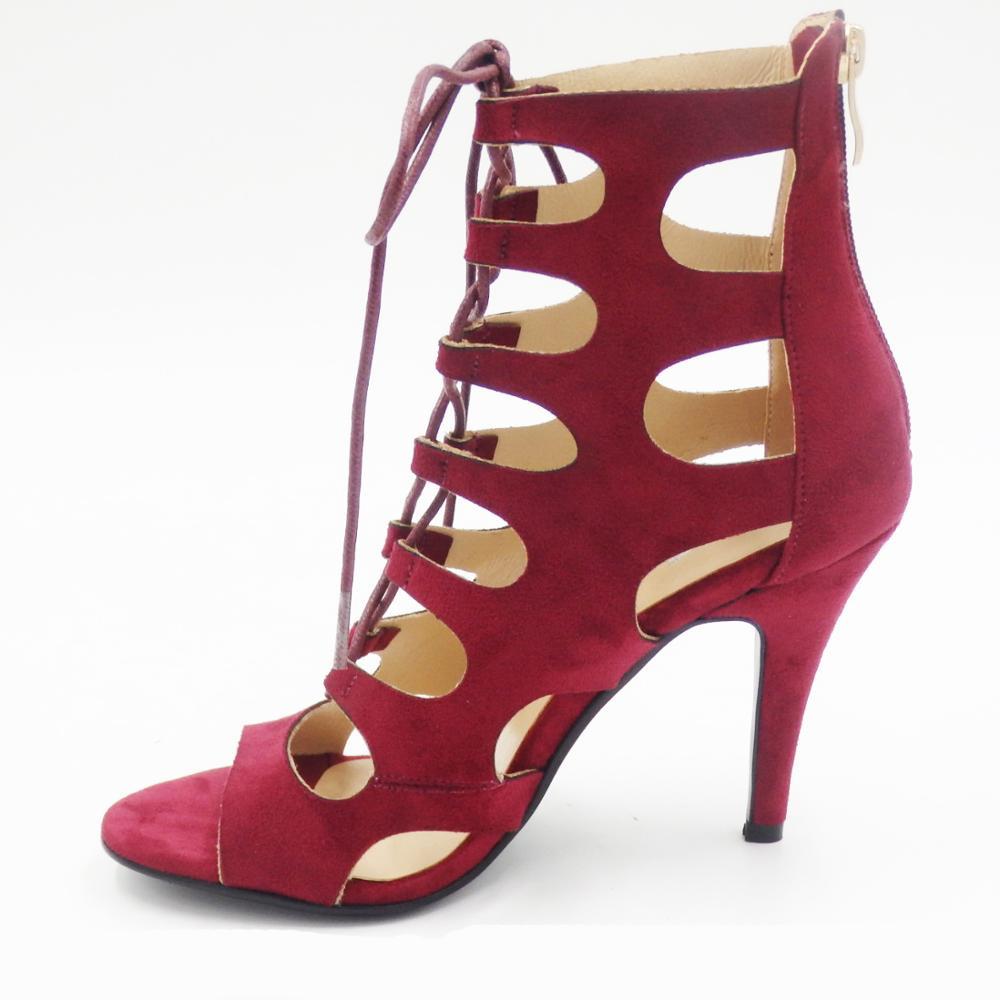 ladies red heeled sandals