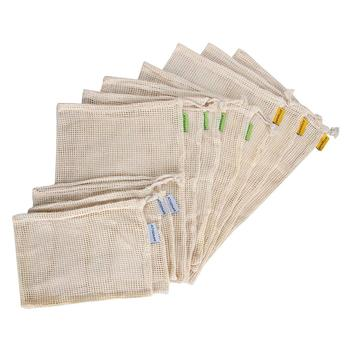 Reusable Produce Bags / Mesh - Eco Friendly No plastic Grocery Eco-bags | Made of Natural Cotton recyclable and Wash