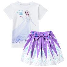 Костюм Эльзы для девочек ясельного возраста, маскарадная футболка + платье с сумкой, комплекты одежды, летняя детская одежда принцессы Снеж...(Китай)