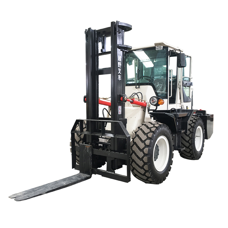 4WD All Terrain รถ Articulated กรอบ Off-Road 2 ตัน 3 ตัน ROUGH Terrain Forklift โซ่