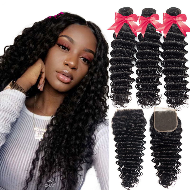 Malaysian Curly Weave 10A Deep Wave Human Hair 3 Bundles 100% Unprocessed Remy Hair Cuticle Aligned Deep Wave Virgin Hair