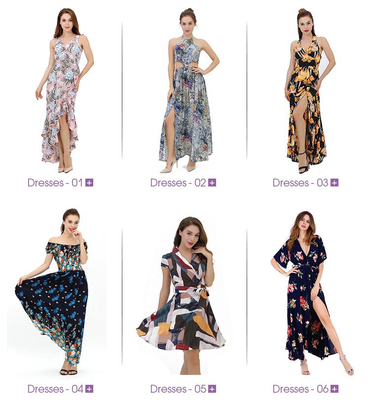 2019 Kasual Bunga Musim Panas Pantai Gaun Wanita Gaun Kasual Gaya Pakaian Wanita Vestidos Casuales