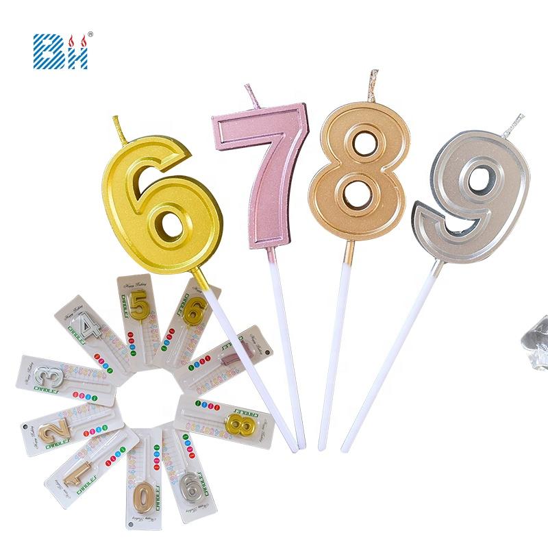 Torta di compleanno Numero di Candele 0 a 9 Oro