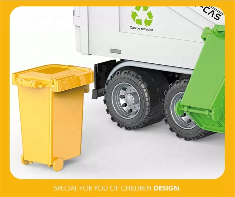 Manual Lift Friction Garbage Truck Toy with 1 Garbage Can