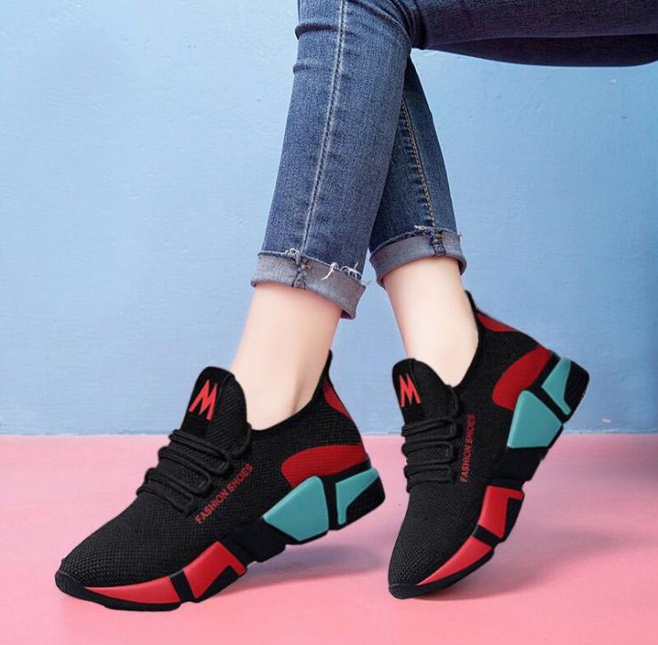 Black color Women's shoes Cheap sneakers No.8-1-2