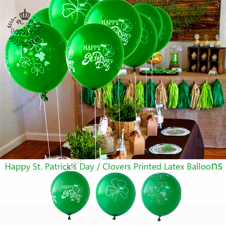 Irish Green St Patricks Day Party Decorations Hanging Swirl Decorations Shamrock Balloons Paper Fans Polka Dot Pennant Flag