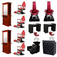 Wholesale salon furniture lexor red pedicure manicure spa chair and table used hair beauty salon