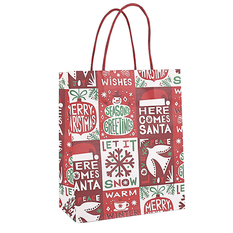Custom Print Kraft Paper Bag For Christmas Gift And Candy