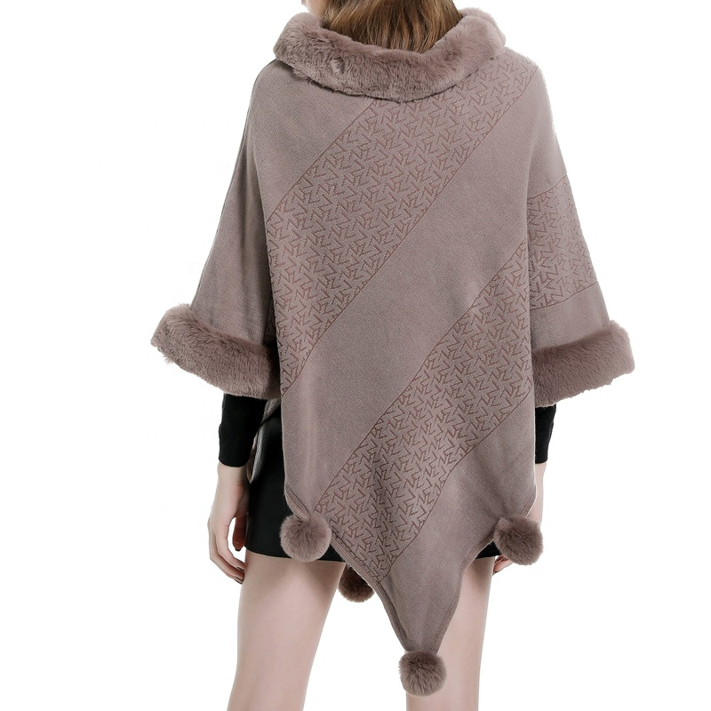 Womens <strong>faux</strong> fur sweater poncho cape winter luxe trim shawl body <strong>wrap</strong>