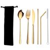 6pc gold cutlery & black bag