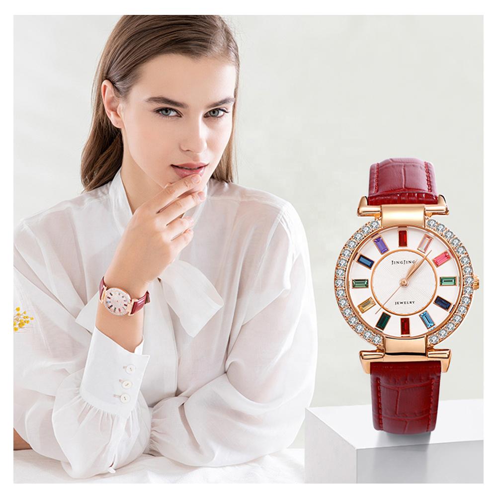 นาฬิกา-1 Xuping Rose Gold สี Elegant ใหม่ผู้หญิงหนังปลอมนาฬิกาสามสายสี