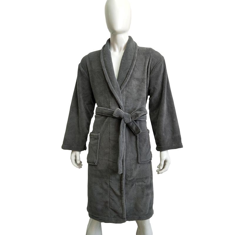 패션 경제 단색 회색 산호 양털 남성 siz 목욕 가운