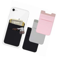 Double Layers Lycra Credit Card Pocket Adhesive Silicone Sticker Pouch Holder Case For Cell Phone