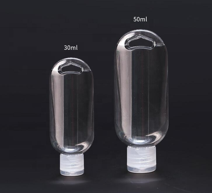 Hot selling portable 30ml 50ml PETG empty hand sanitizer bottle with carabiner
