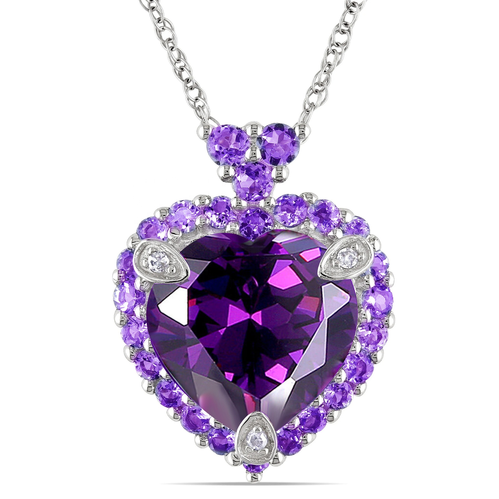 Unique Jewelry Romantic Love Heart <strong>Natural</strong> Purple <strong>Amethysts</strong> Crystal <strong>Pendant</strong> for Valentine's Day Necklace