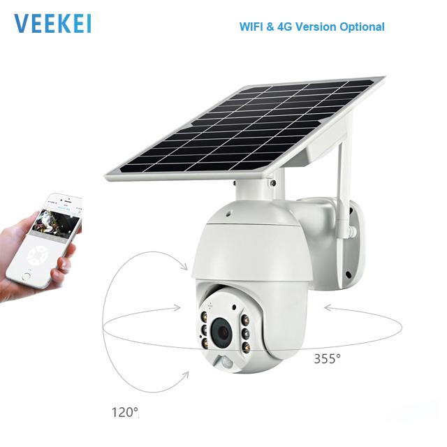 VEEKEI 360 องศาในร่มกลางแจ้งไร้สาย 4G Ip Ptzกล้องโดมPtzกลางแจ้งชาร์จพลังงานแสงอาทิตย์ 2 Way Audio Securityกล้อง