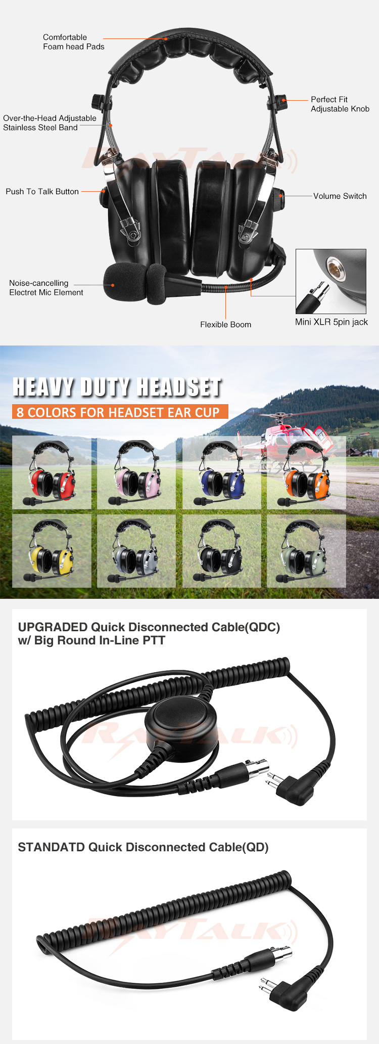 RayTalk Over The Head high Noise Cancelling double muff two way radio headset RAN-1000A