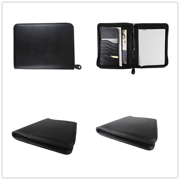 2020 hot sale A5 zipper multifunctional bussiness portfolio custom logo PU leather business card and notepad holder