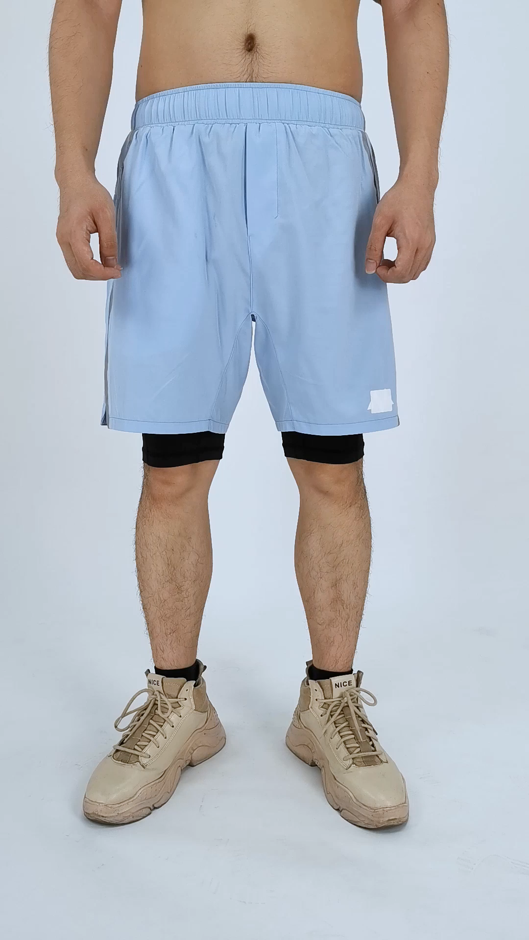 Fitness Gym Sportswear Polyester Fabric Plain Color Shorts for Men