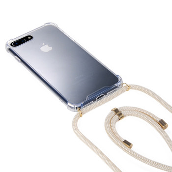 For iPhone X XS Max  7 8 Neck Strap hard acrylic Phone Case with long Crossbody Rope  necklace