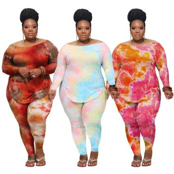 Hot selling Casual tie dye printed long sleeve Pants Sets plus size women fall clothing