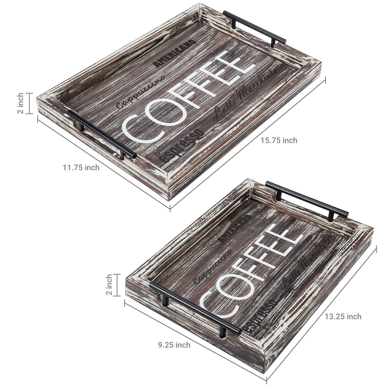 Torched Wood Coffee Nesting Serving Trays with Metal Handles, Set of 2