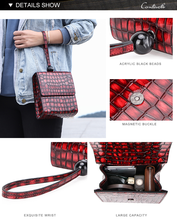 Custom made Contacts ladies handbags purse with croco skin odm womens genuine leather handbag in wholesale price