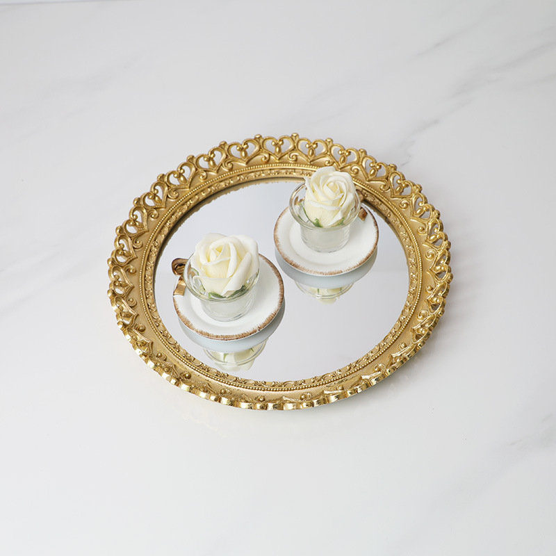 Round Resin Mirror Gold Storage Vintage Cake Trays Jewelry Dish Dessert Plate Kitchen Organization Cosmetics Wedding Ring