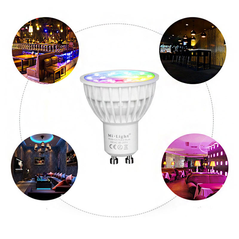 WiFi connect 2.4G RF 5W AC100-240V RGB+CCT and 16 million colors <strong>GU10</strong> led spot light with remote