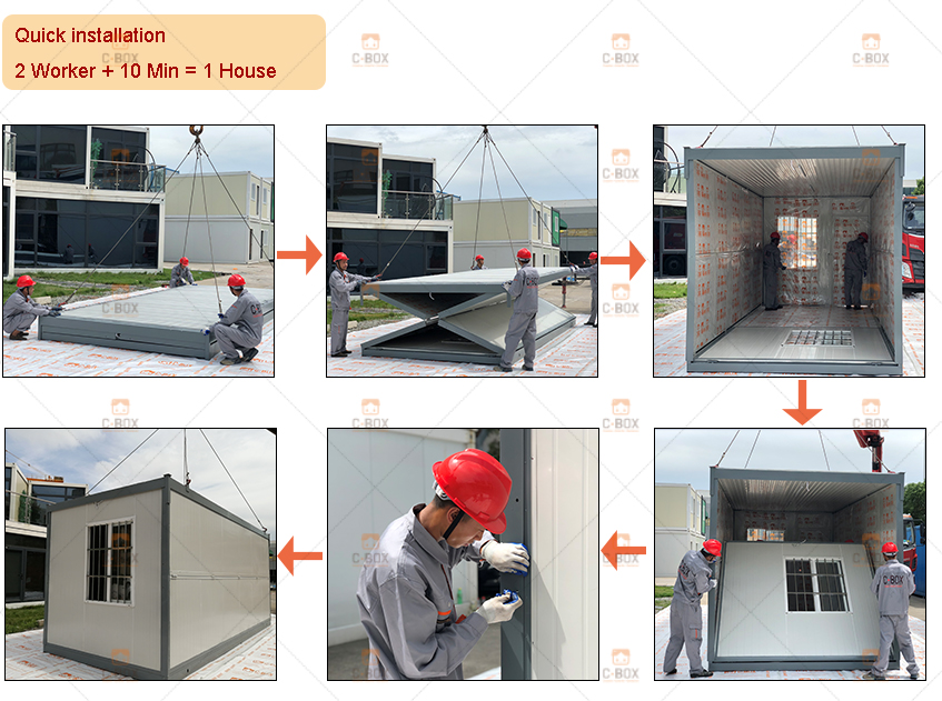 Foldable container house installation