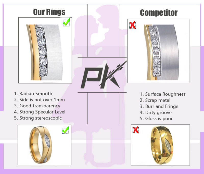 Wholesale Customized High End Titanium Promise Rings for Couples 16mm