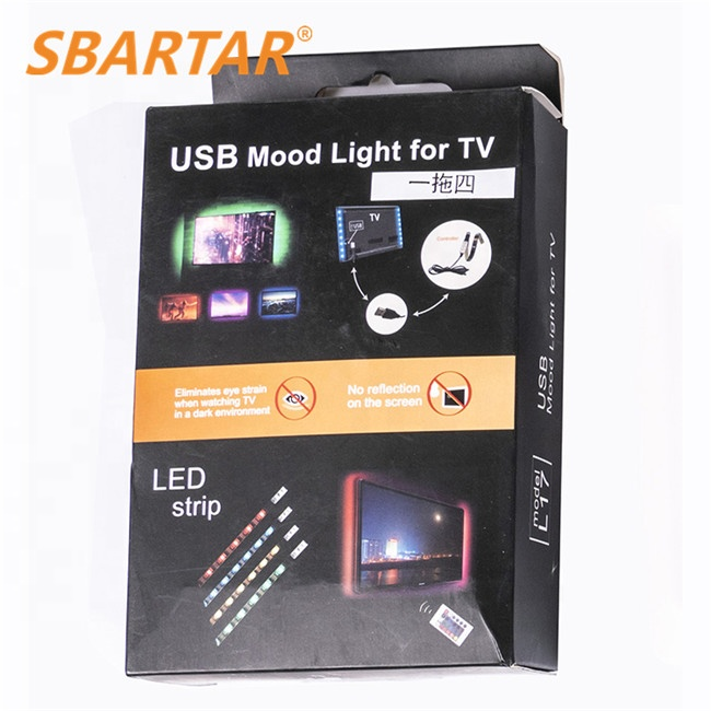 5V TV backlight RGB Strip Light Kit Background Lighting House Decoration Retail USB Port 5050SMD