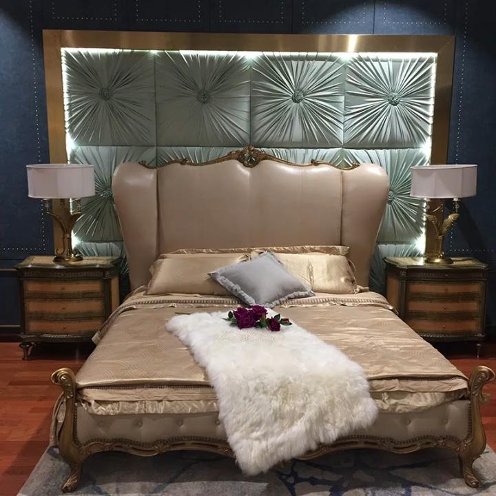 Rahat yeni tasarım masif ahşap son ahşap çift kişilik yatak fransız yatak odası mobilyası ahşap karyola iskeleti