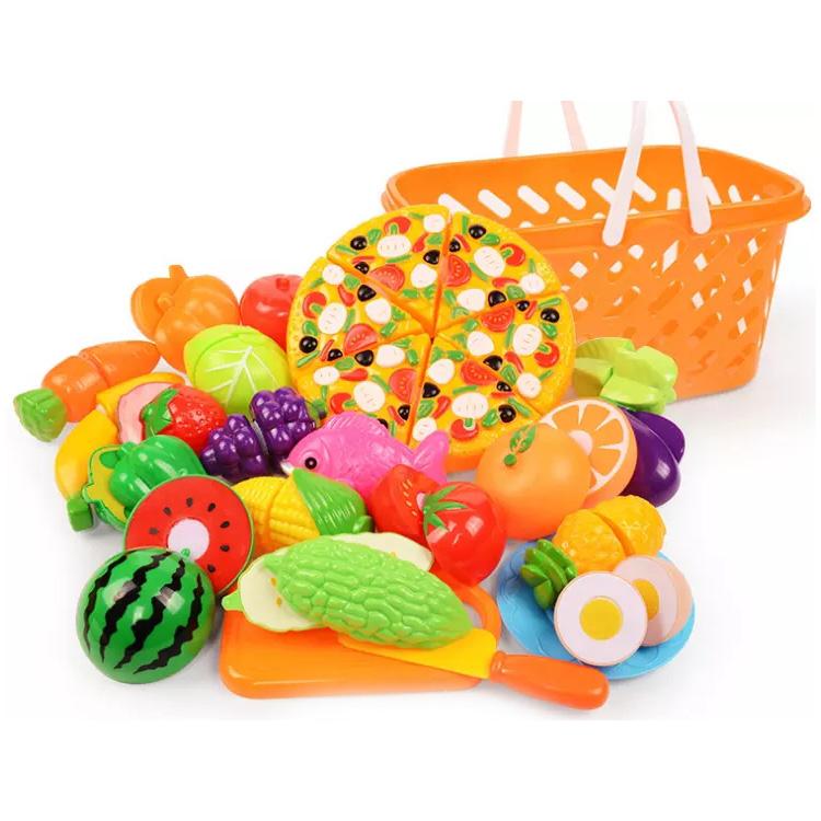 ילדים בגיל רך פלסטיק בית לשחק סט צעצוע פירות ירקות פיצה חיתוך צעצועים לשחק צעצועי מטבח אבזרים