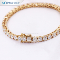 Tianyu Gem Pure Hand make 2mm 3mm 4mm Round White Moissanite Tennis Bracelet in 14k/18k Real Gold Jewelry