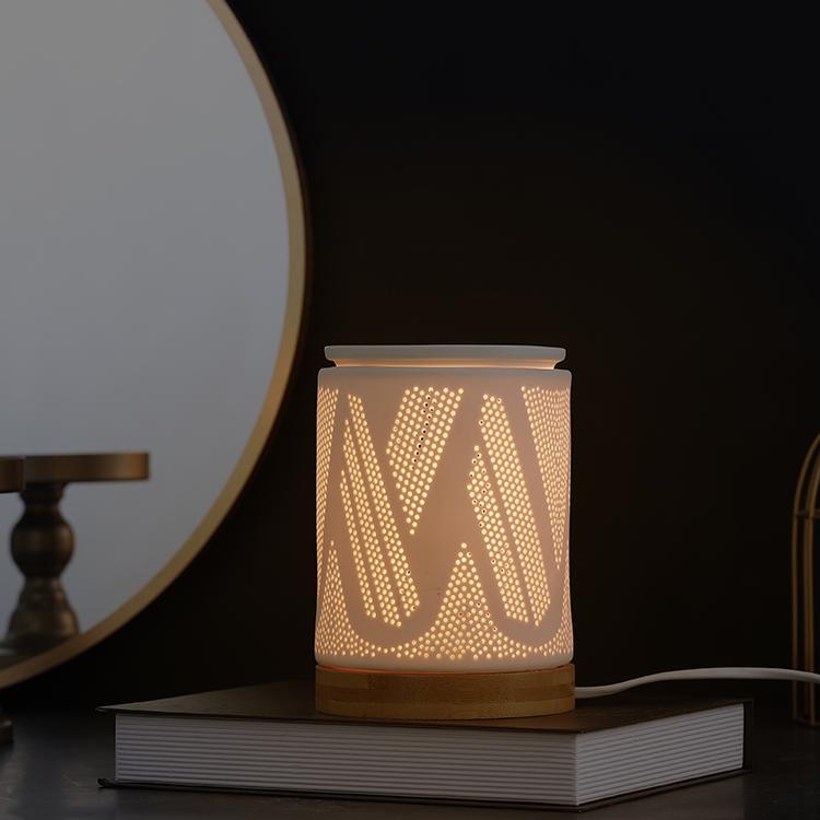 Customized modern design embossed ceramic led incense burners light with wooden base