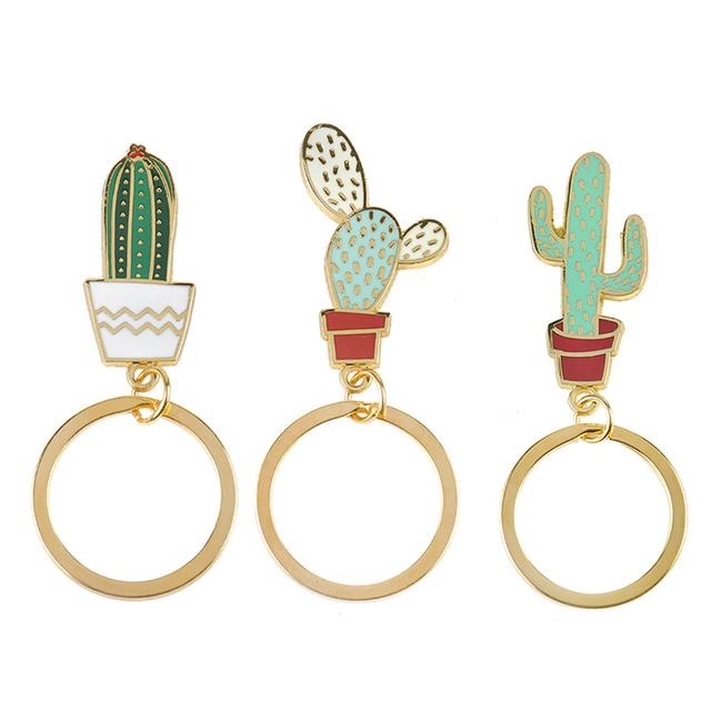 Onwomania Llavero Golden Cactus Cactus Metal Colgante Charm