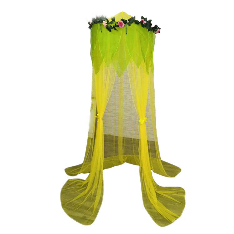 פופולרי עגול ירוק יתושים רשתות פרחים דקור חופה מיטת ילדים