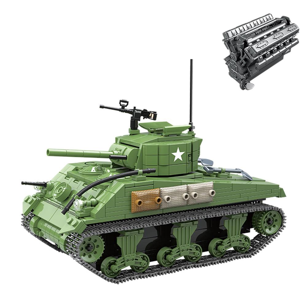 726Pcs Simulation V12 Engine Sherman M4A1 Tank ww2 Swat Small Particle Building Block Toy Kit for 100% Building Block Brands