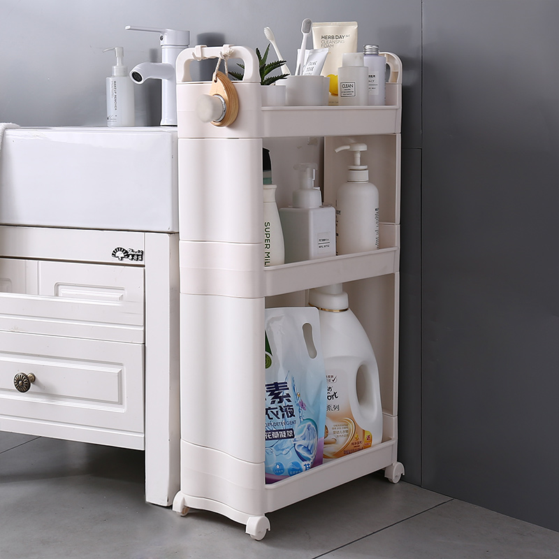 Multipurpose White Small 3Tier Pull Out Removable Storage Toilet Corner Organizer No Drill Bathroom Rack Plastic <strong>Shelf</strong> Wheeled
