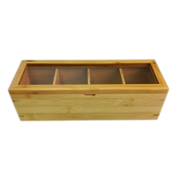 4-Compartment Bamboo wooden tea bag gift packing box With Acrylic Lid