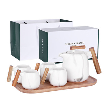 Nordic Designer Wood Handle Coffee Ceramic Tea Cup Set Coffee Cups Pots Set with Stainless Steel Stainer Gift Box Gift