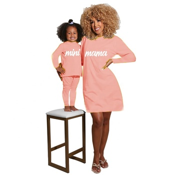 Wholesale Little Girls Solid Pajama Baby Girls Autumn Clothing Set Women Fall Dress Mommy and Me 2Pcs Outfits for Mama Mini