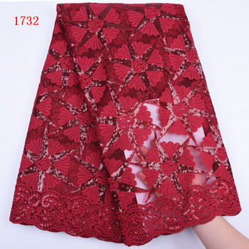 New Arrival Embroidery Milk Silk Lace Fabric With Sequins For Party Dress Wholesale Price African Lace For Dress 1732