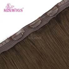 K.S искусственные волосы Remy, 20 дюймов, прямые волосы Halo, невидимые волосы на клипсе для наращивания, 100 г(Китай)