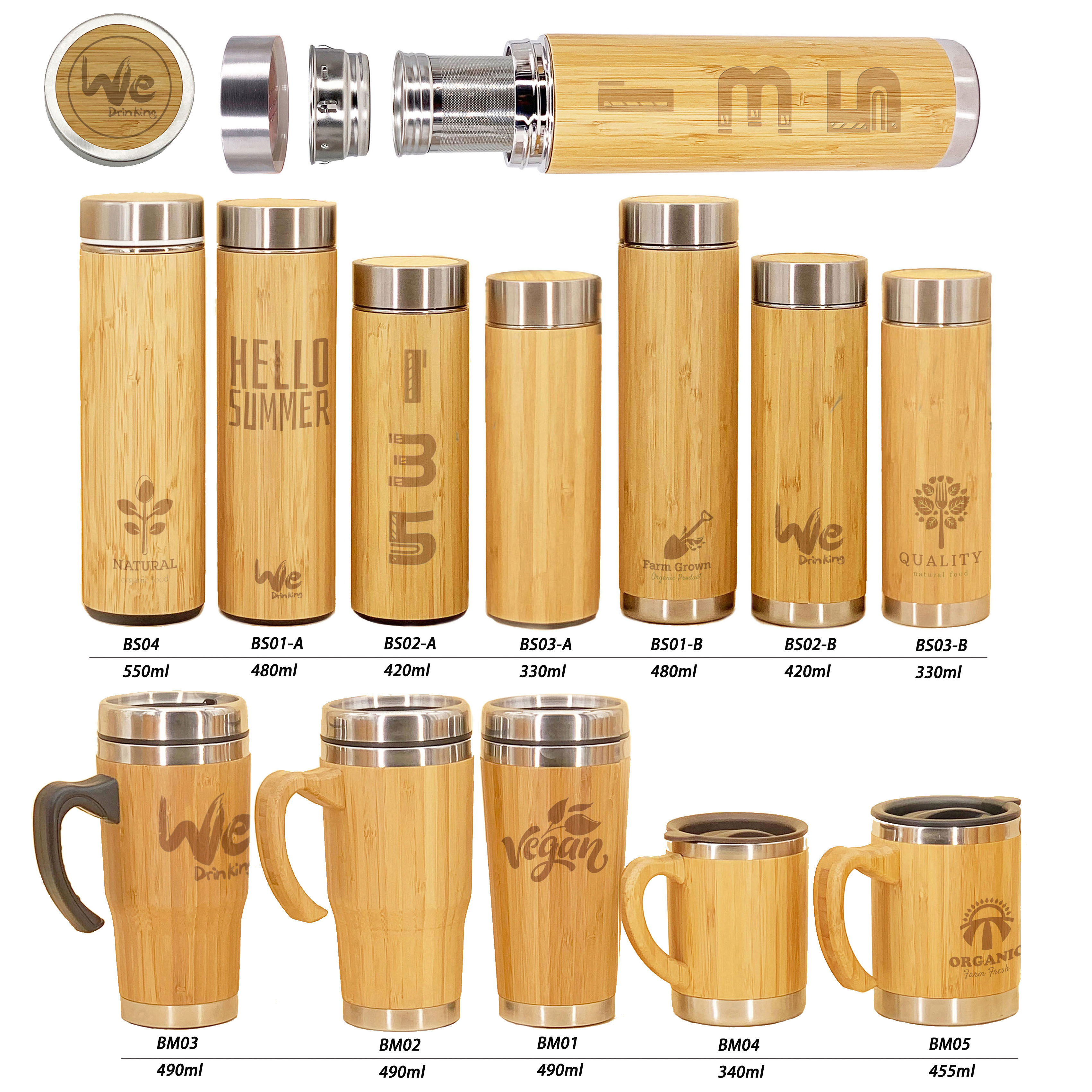 BS01 480ml 17oz Triple Wall Vacuum Insulated Bamboo Water <strong>Bottle</strong> with Strainer